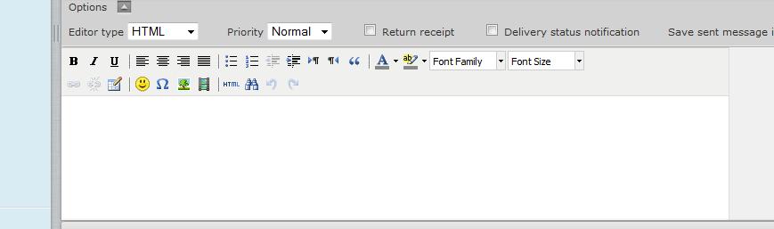 المحرر المتطور في roundcube لارسال رسائل بنسق معين